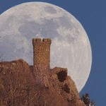 Castle Moon over Meriden, Connecticut
